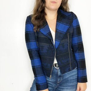 JACK | Blue Black Plaid Southwestern Moto Jacket